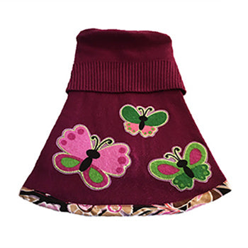 So soft wine colored acrylic blend with a rib knit collar and trimmed with pink flower print doggie sweater. Features a 3 large butterflies – cute and warm for your fur baby this fall.