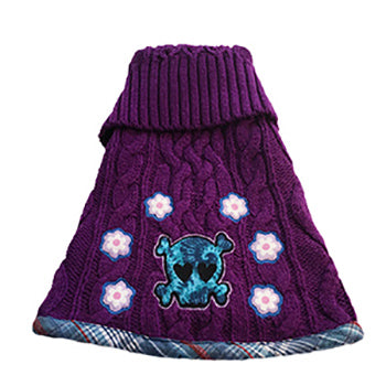 Soft gorgeous purple acrylic blend cable knit with blue plaid trim doggie sweater. Features a skull and flowers motif – will be warm and fashionable for your furbaby.