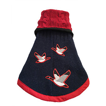 XSmall - Dark Blue Wool with Red Cotton Cable Knit Collar Doggie Sweater