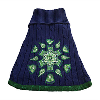 Royal blue medium weight cotton cable knit with emerald green print trim doggie sweater. Features a beautiful green mandala – will keep your fur baby warm and fashionable.