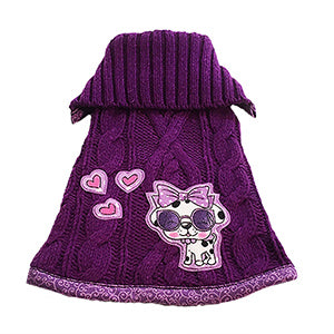 So soft gorgeous purple acrylic blend cable knit with purple and pink swirl trim doggie sweater. Features a super cute purple doggie wearing sunglasses with three hearts motif – so cute and chic for your fur baby.