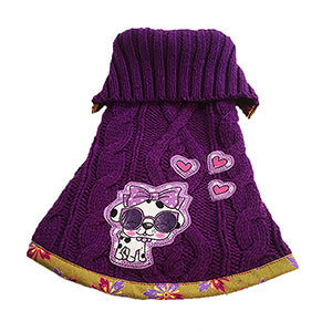 So soft gorgeous purple acrylic blend cable knit with moss green print trim doggie sweater. Features a super cute purple doggie wearing sunglasses with three hearts motif – so cute and chic for your fur baby.