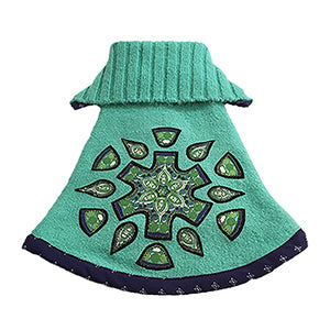 Super soft and cute mint green acrylic with a navy print trim doggie sweater. Features a green mandala for sweet yet sophisticated chic look.