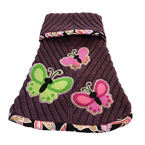 Super soft plum colored cotton rib knit with a pink flowery print trim doggie sweater. Features a butterfly motif – chic and warm for your fur baby.