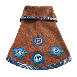 So soft rust colored light weight cotton blend with a cute blue plaid trim doggie sweater. Features blue stars motif – super chic and warm for your fur baby!