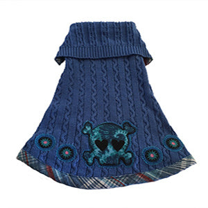 XSmall - Skull Design Cable Knit Blue Cotton Doggie Sweater