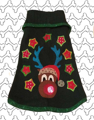 Medium Size Green Coloured Cotton Knit Ugly Christmas Doggie Sweater