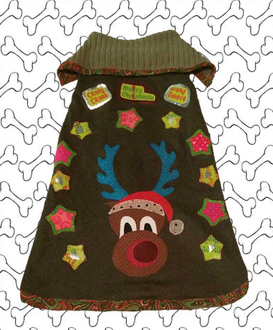 Medium Size Green Coloured Knit Ugly Christmas Doggie Sweater