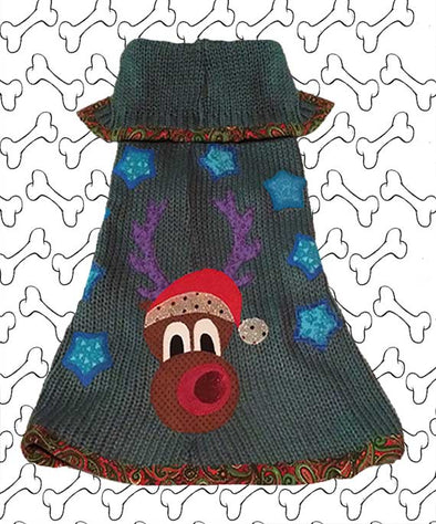 Medium Size Blue-Green Coloured Knit Ugly Christmas Doggie Sweater