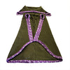 Medium - Olive Green with Purple Textured Collar Doggie Sweater