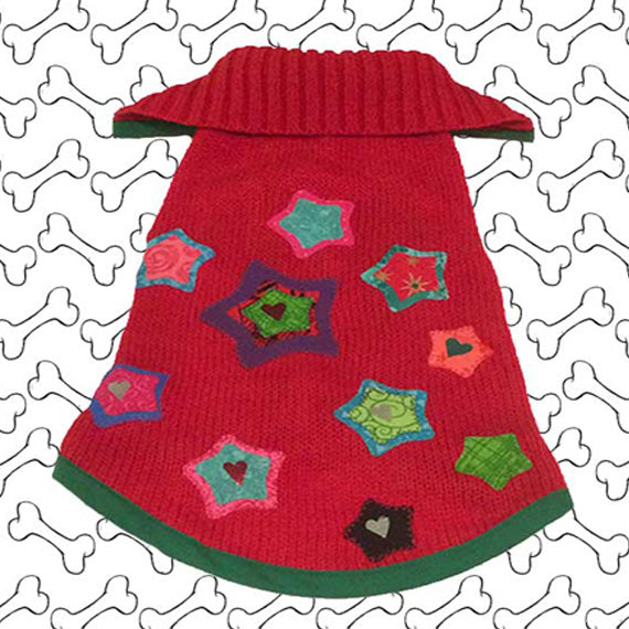 Small Size Red Coloured Knit Ugly Christmas Doggie Sweater