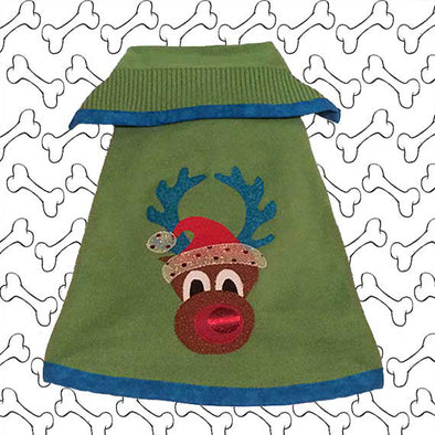 Small Size Bright Green Coloured Knit Ugly Christmas Doggie Sweater