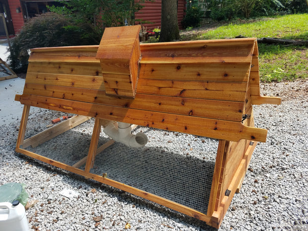 "8 ft Cedar Chicken Tractor with feeder/water ""chimney"""