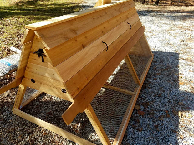 "6 ft Cedar Chicken Tractor with feeder/water combo ""chimney"""
