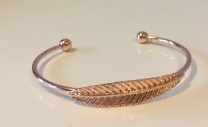 Rose Gold Feather Cuff Bangle