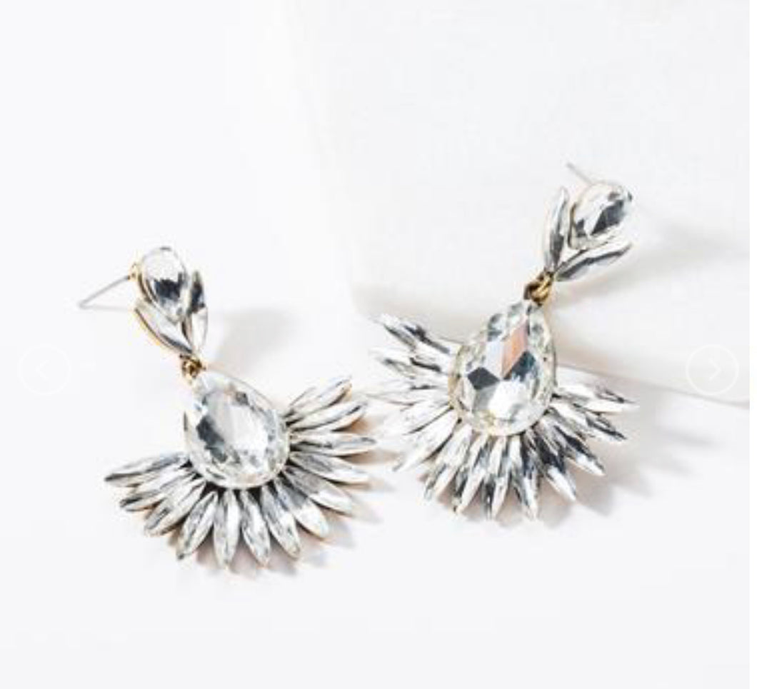 Drop Feather Rhinestone Earrings