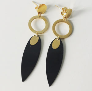 Oval Gold Tone and Gunmetal Earrings