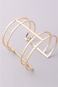 Gold Dimpled Cage Cuff