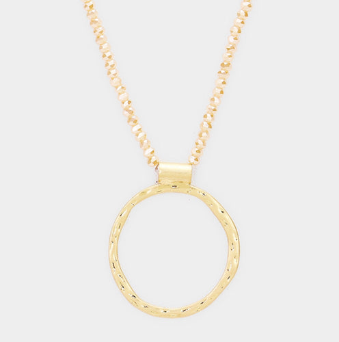 Dimpled Gold Circle Necklace