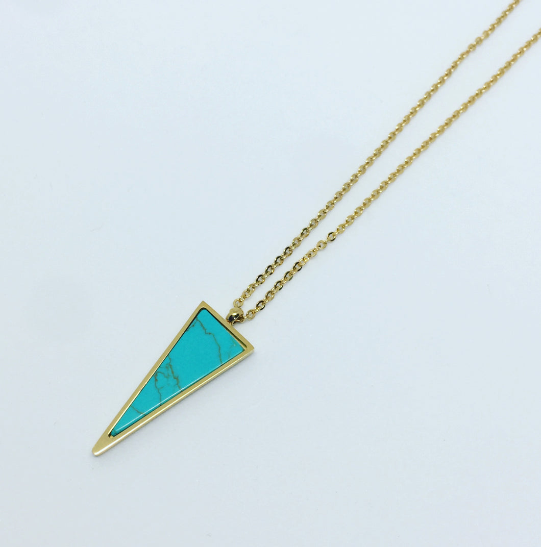 Turquoise Triangle Pendant Necklace