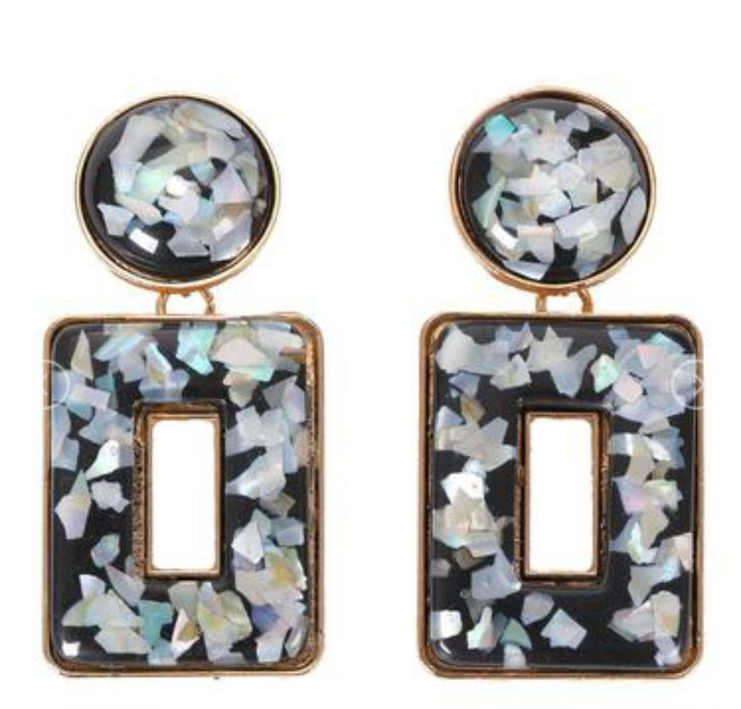Black Flecked Earrings