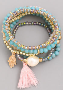 Tassel Beaded Bracelet Set