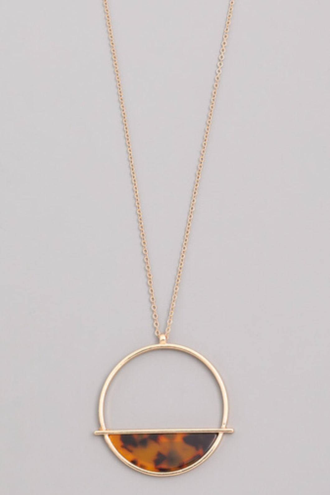 Leopard Print Open Circle Necklace