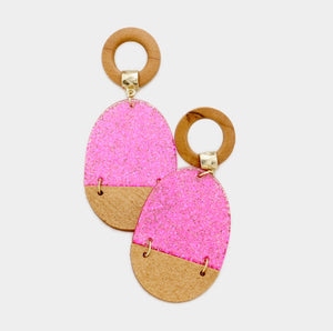 Pink Glitter Earrings