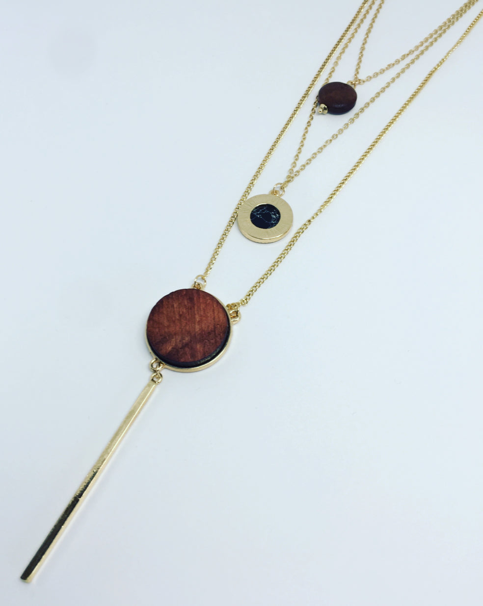 Three Tiered Wood Necklace