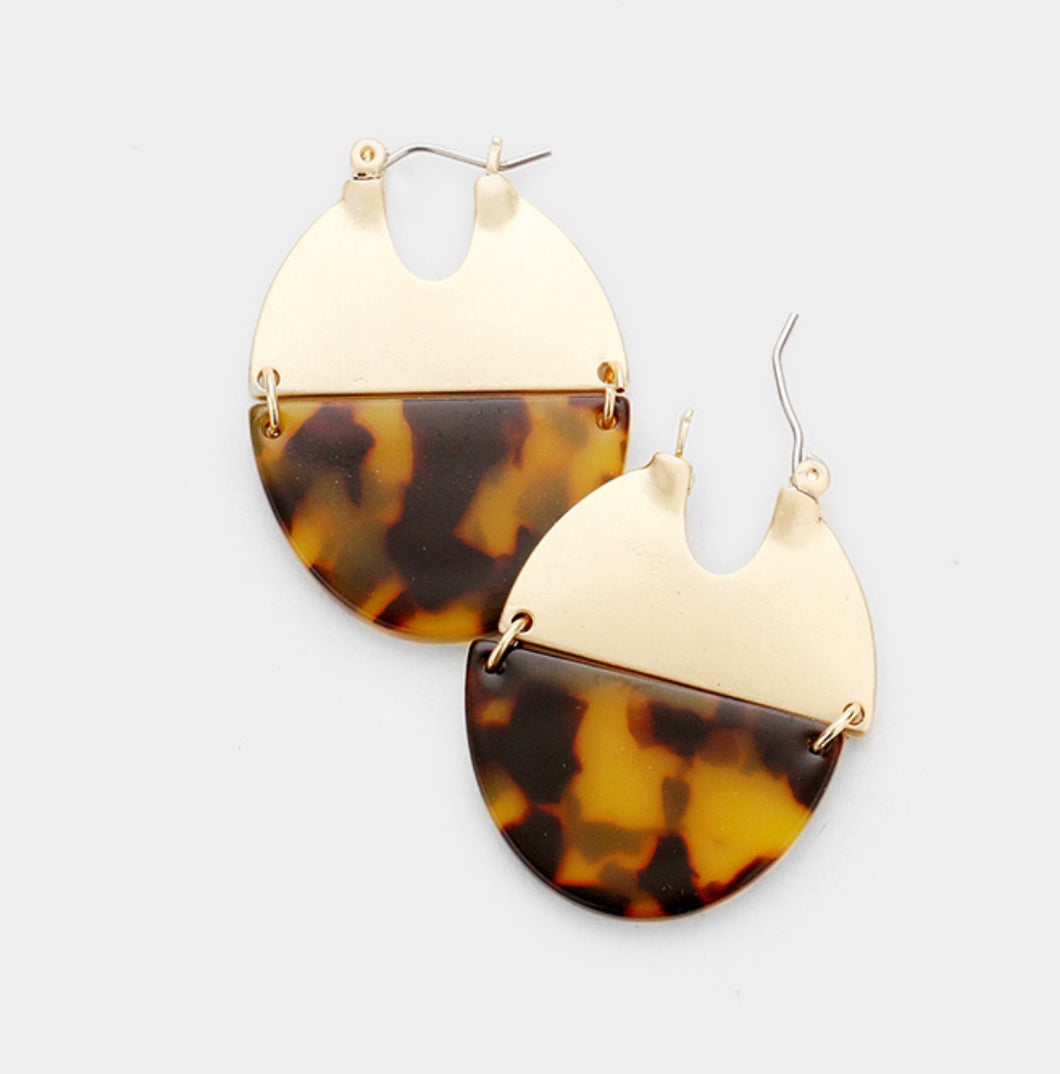 Tortoise Shell & Gold Earrings
