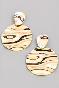 Large Disc Wave Earrings