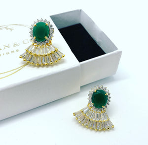Wear a Crown (Green) Earrings