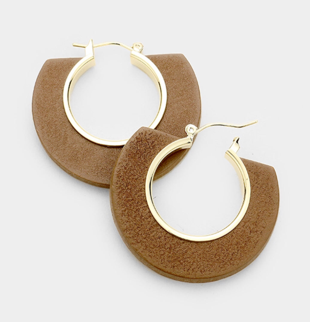Round Wood Earrings