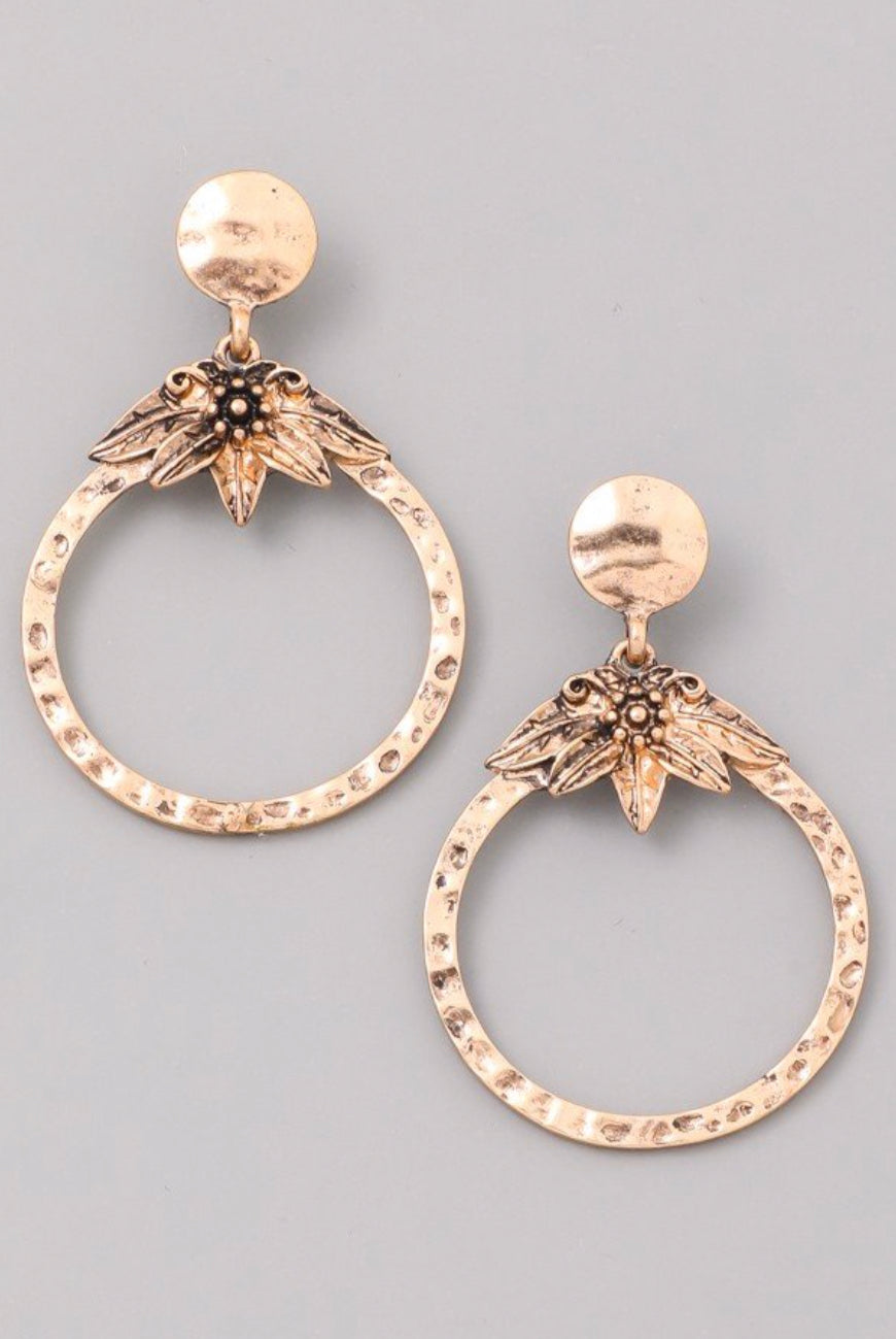Antique Gold Floral Round Earrings