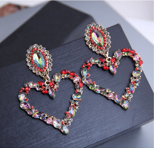 Large Decorative Heart Earrings