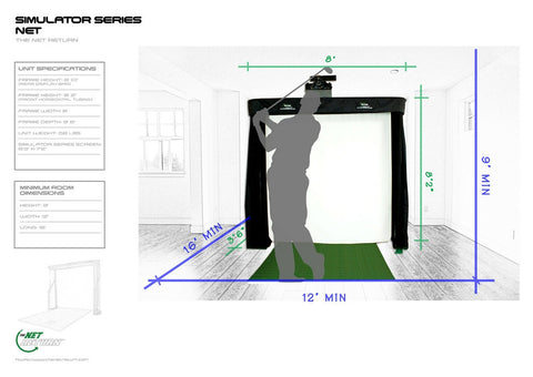 Simulator Series Golf Net Room Specs
