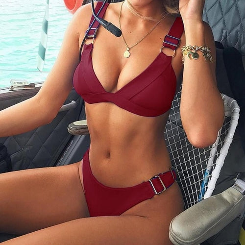 Fabulous Sexy Buckle Women Bikini Push-Up Padded
