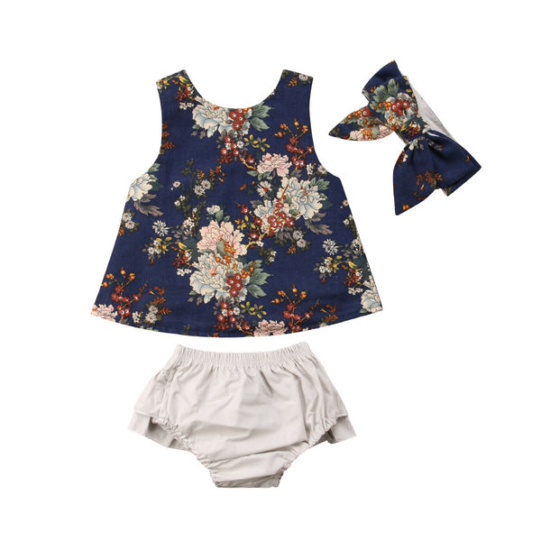 LouLi Floral Top + Shorts + Headband Baby Set - LouLi - Designed For Your Child