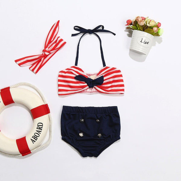 LouLi Retro Baby Swimsuit With Matching Headband - LouLi - Designed For Your Child