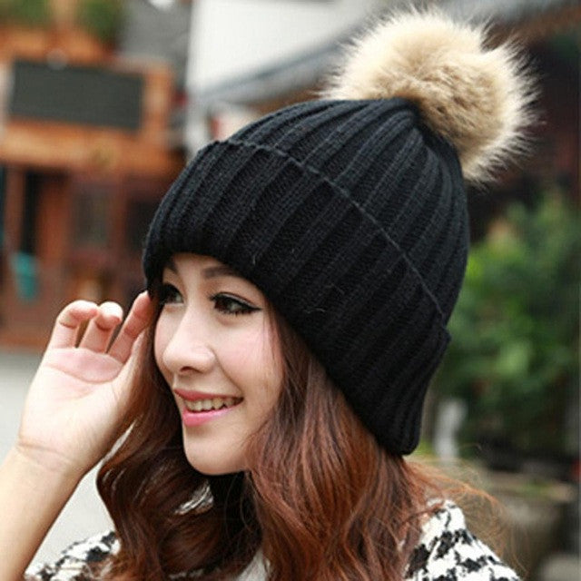 391a651f4 2016 New Design 7 Colors Women Hat Female Knitted Winter Rabbit Fur Ball  Warm Hat Crochet knit beanie Wool Cap G310Y12