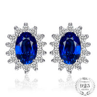 Blue Sapphire Halo Stud Earrings - Delicates By Yvonne