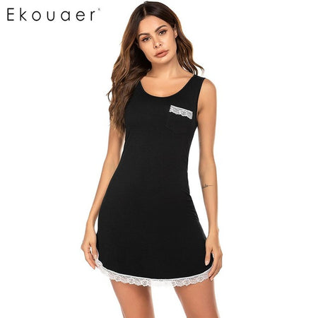 Ekouaer Summer O-Neck Nightdress