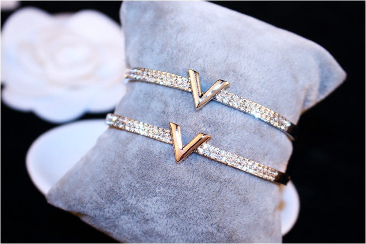 V Crystal Cuff Bracelet - Delicates By Yvonne