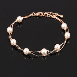 Double Fair Pearl Charm Bracelet - Delicates By Yvonne
