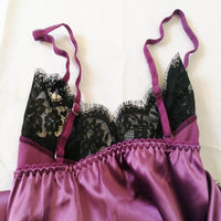 Lace-Trim Satin Pajama Set - Delicates By Yvonne