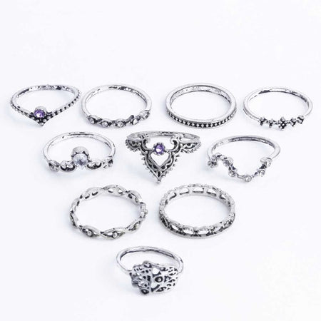 Vintage Crystal Ring Set (10Pcs) - Delicates By Yvonne