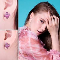 """X"" Mark Ruby Pave Stud Earring - Delicates By Yvonne"
