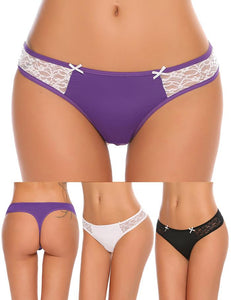 3 Pack Lace Patchwork Thong - Delicates By Yvonne