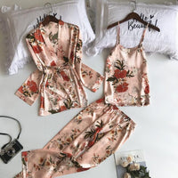 3 PCs Flower Print Pajama Set - Delicates By Yvonne
