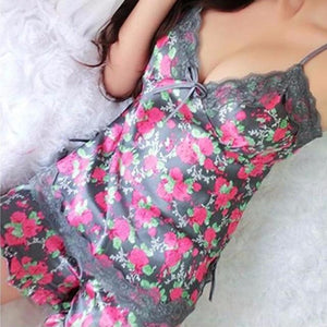 Lace Floral Pajama Set - Delicates By Yvonne